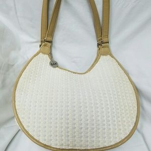 THE SAK Woven Weave Cream Tan Trim Handbag